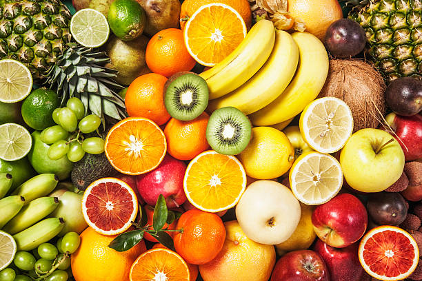 fondo de frutas - fruta fotografías e imágenes de stock