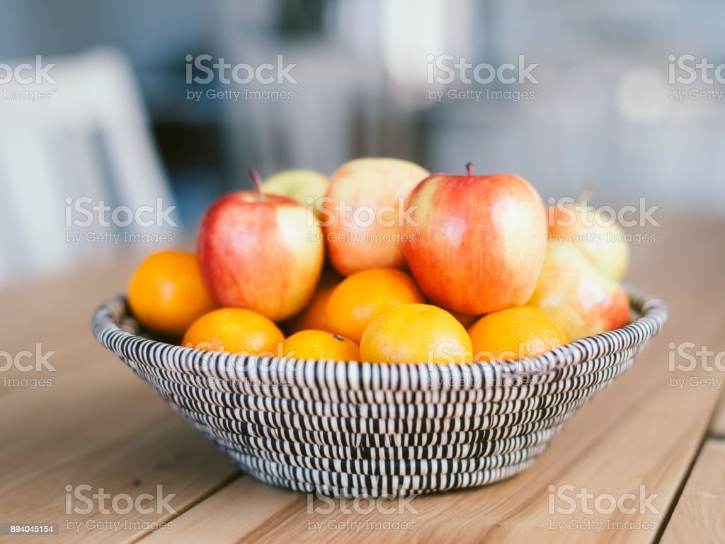 Fruit Basket on a Table stock photo