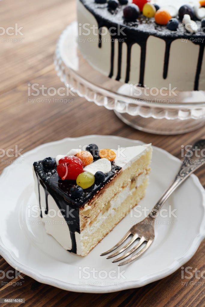 Fruit birthday cake zbiór zdjęć royalty-free