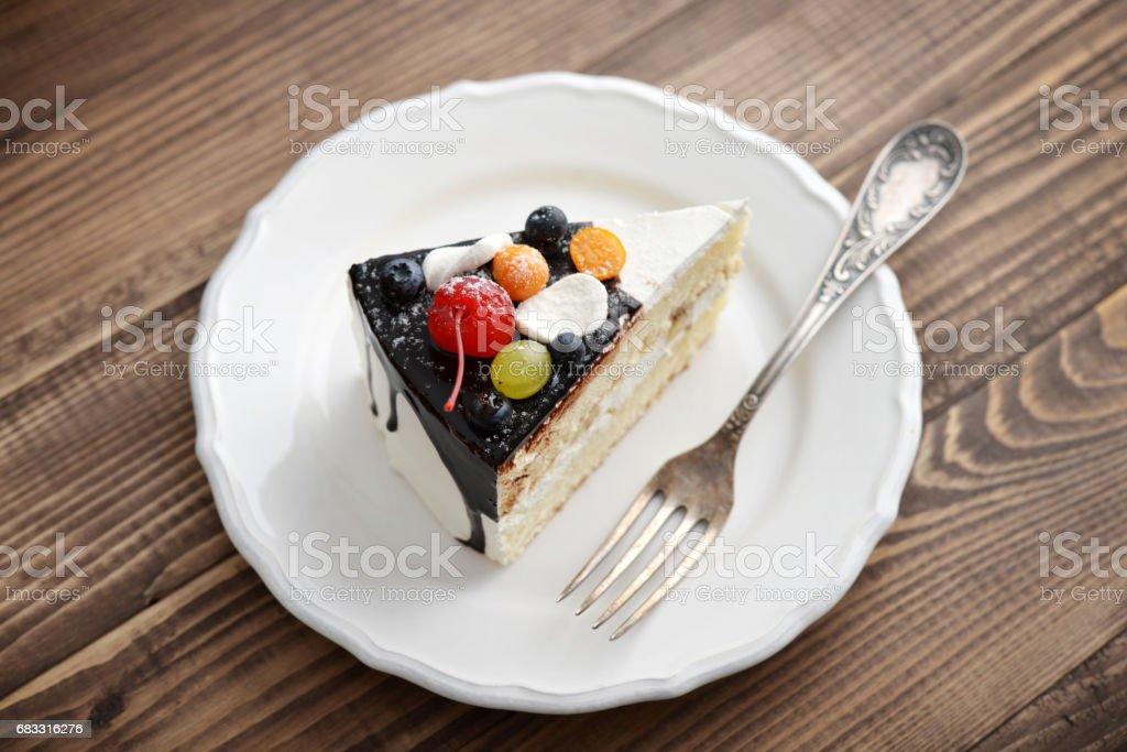 Fruit birthday cake royalty free stockfoto
