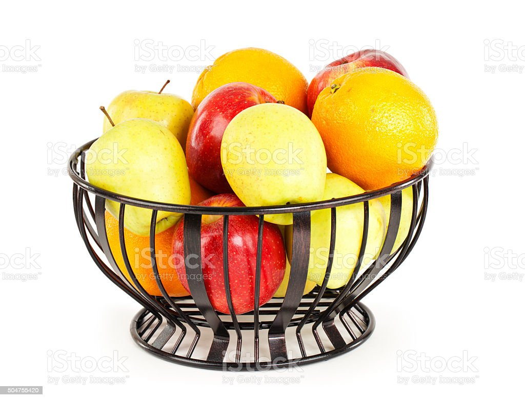Fruit Bowl Isolated On White stock photo