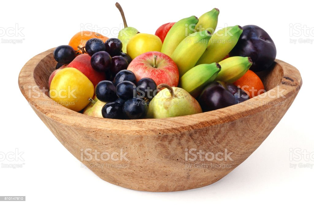 fruit bowl isolated stock photo