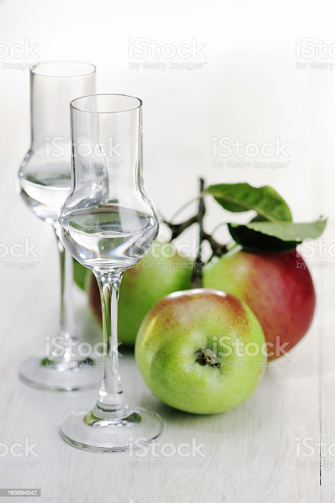 Fruit Brandy; Apple royalty-free stock photo