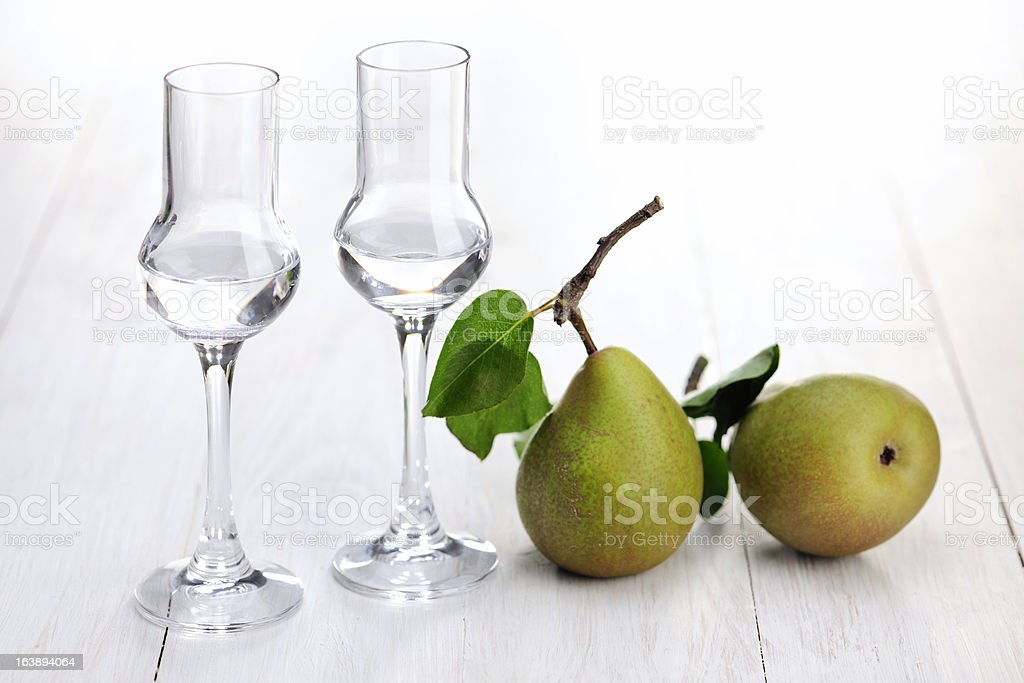 Fruit Brandy; Pear stock photo