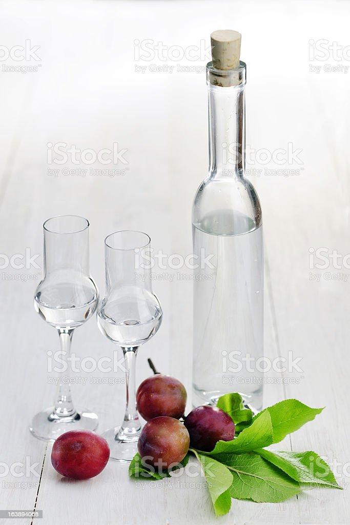 Fruit Brandy; Plum royalty-free stock photo