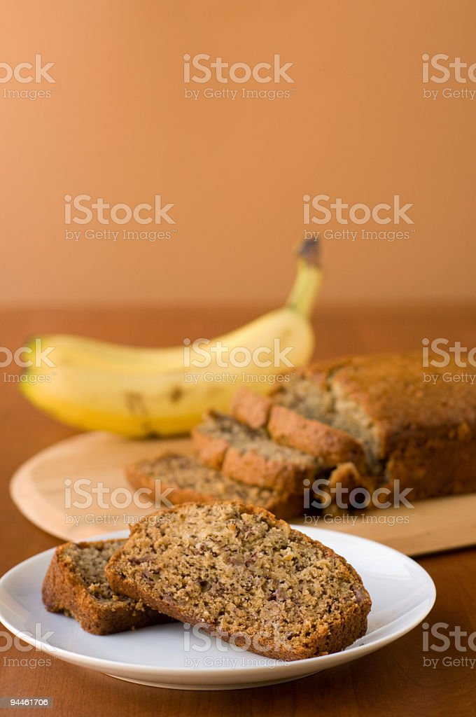 Fruit bread slices bananas and copyspace royalty-free stock photo