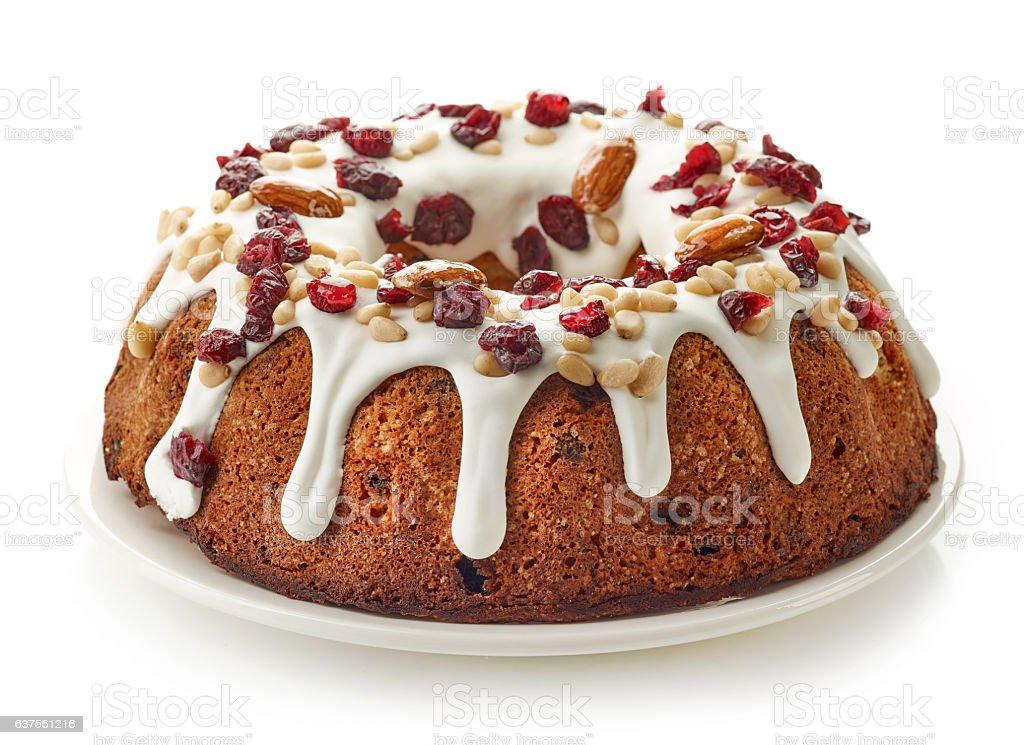 fruit cake on white plate stock photo