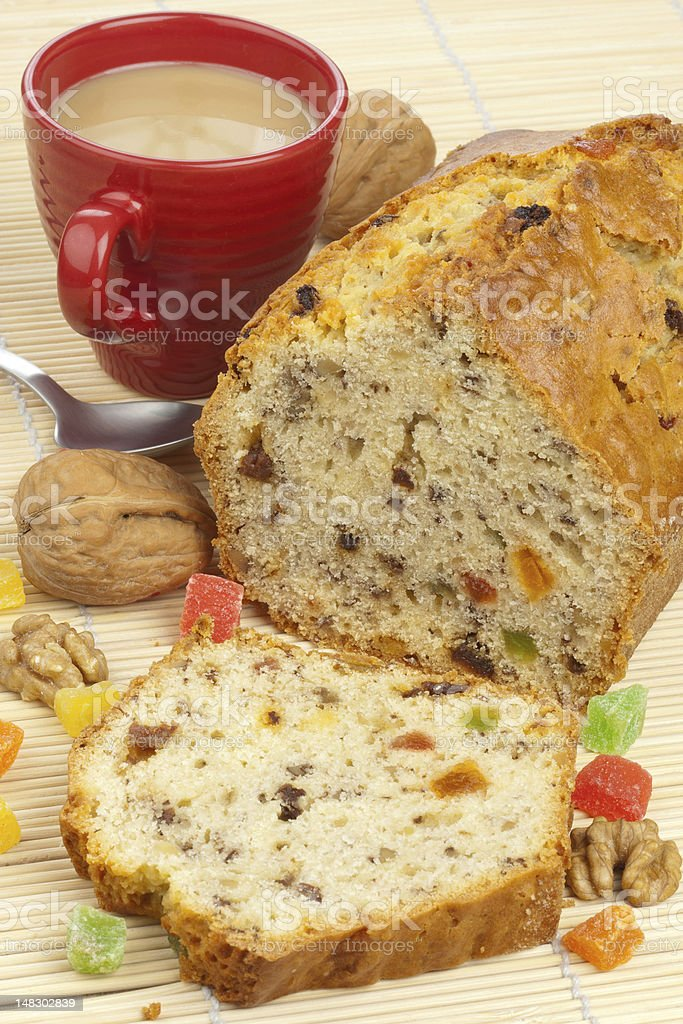 Fruit cake with coffee royalty-free stock photo