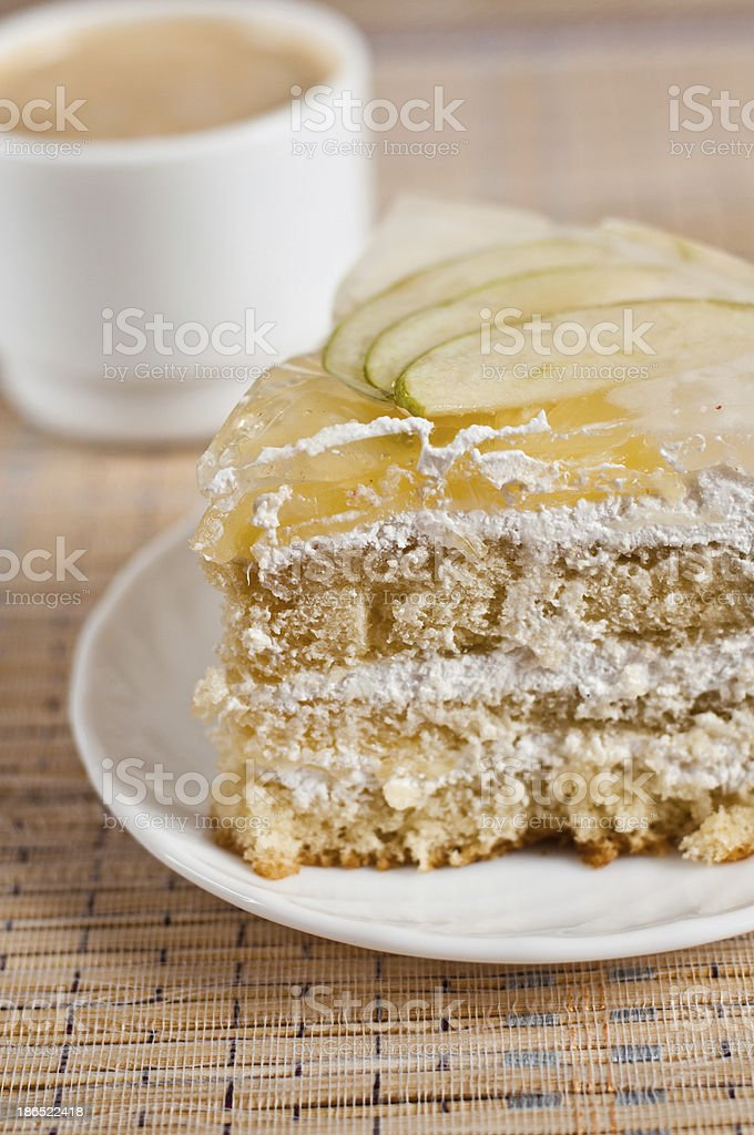 Fruit cake with pineapple and apple royalty-free stock photo