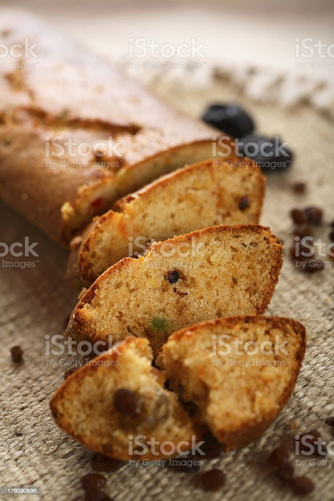 Fruit cake with vanilla royalty-free stock photo