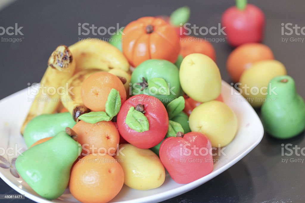 fruit candy made by almond paste or marzipan fruits stock photo