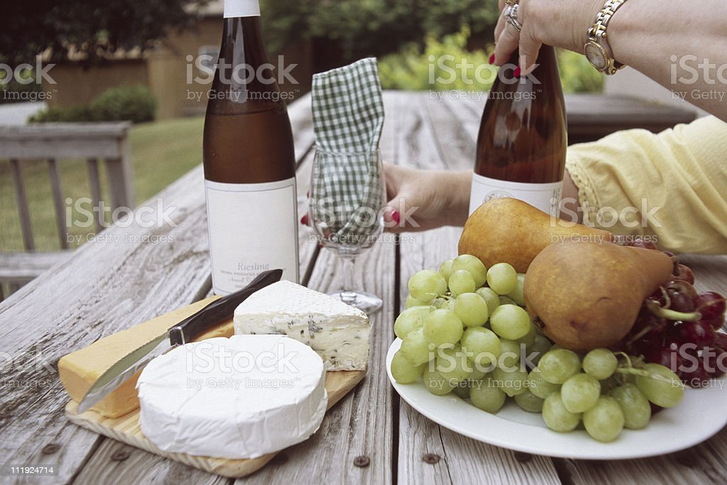 Fruit, Cheese and Wine Picnic stock photo