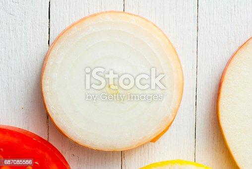 istock Fruit circles, top view 687085586