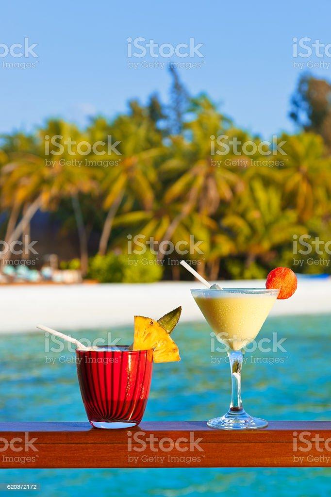Frutos cocktail de Praia em Maldivas foto de stock royalty-free