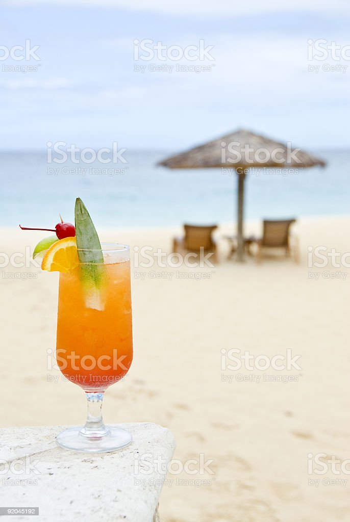 Fruit Cocktail on the Beach royalty-free stock photo