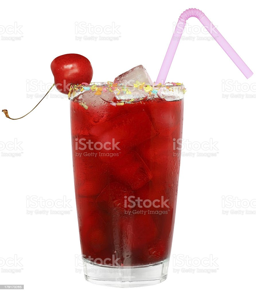 Fruit cocktail with cherry and ice cubes in a glass royalty-free stock photo