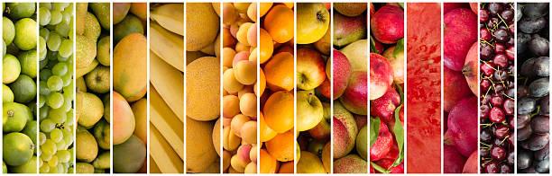 fruit collage - food background - melonenbirne stock-fotos und bilder