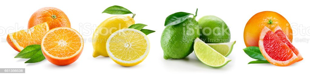 Fruit compositions with leaves isolated on white background. Orange, lemon, lime, grapefruit. Collection. - foto stock