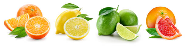 Fruit compositions with leaves isolated on white background. Orange, lemon, lime, grapefruit. Collection. stock photo