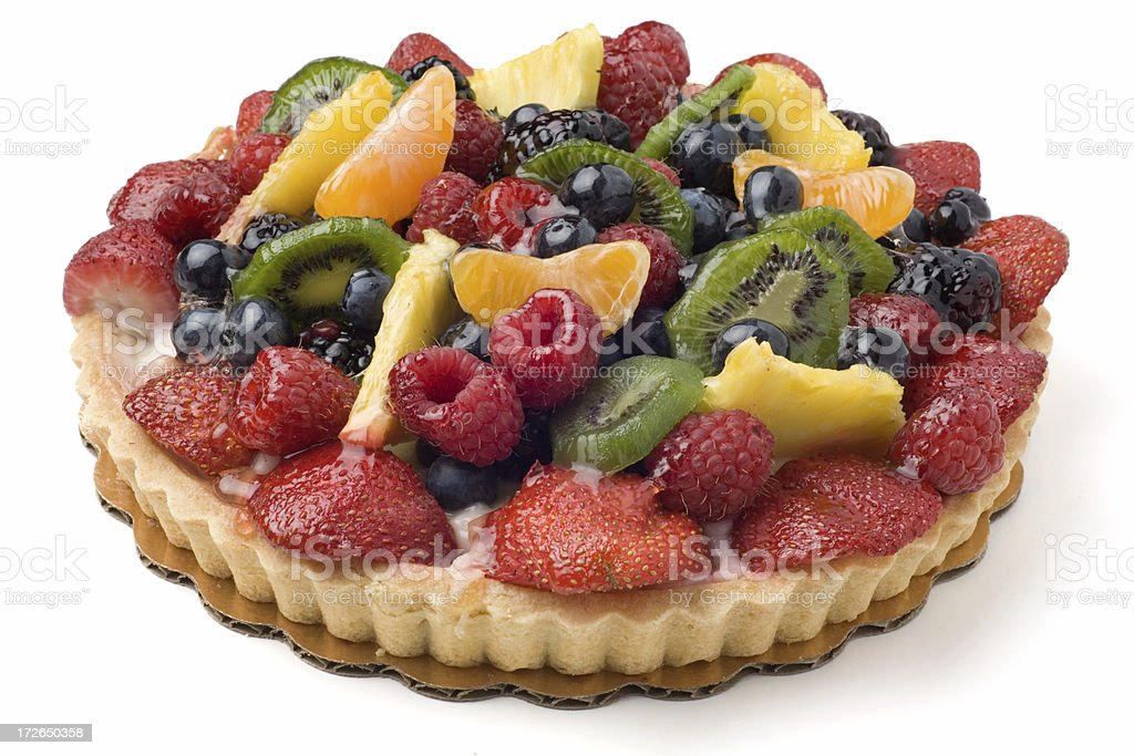 Fruit Custard Pastry Pie Isolated on White royalty-free stock photo