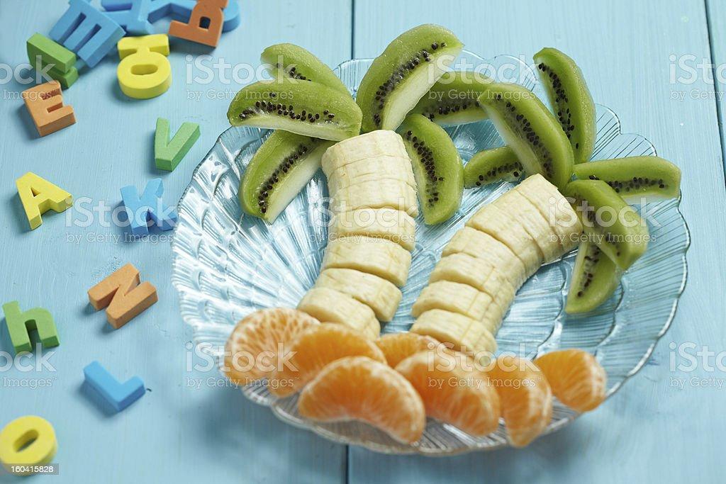 Fruit dessert for child stock photo