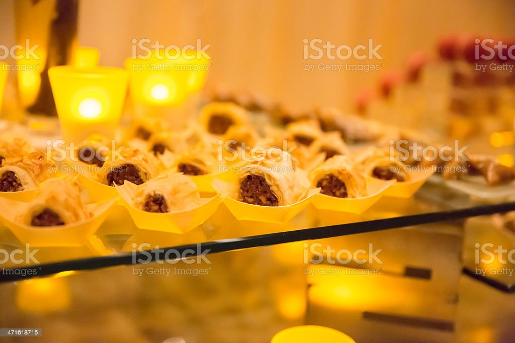 Fruit filled pastries at a buffet table royalty-free stock photo