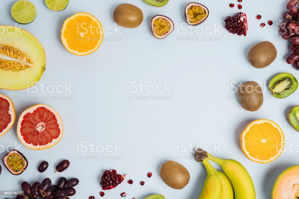 Fruit flat lay from above colorful food background stock photo