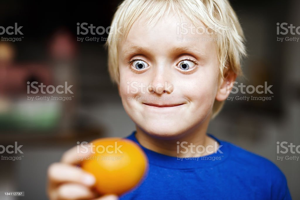 Fruit? For me? Wow! stock photo