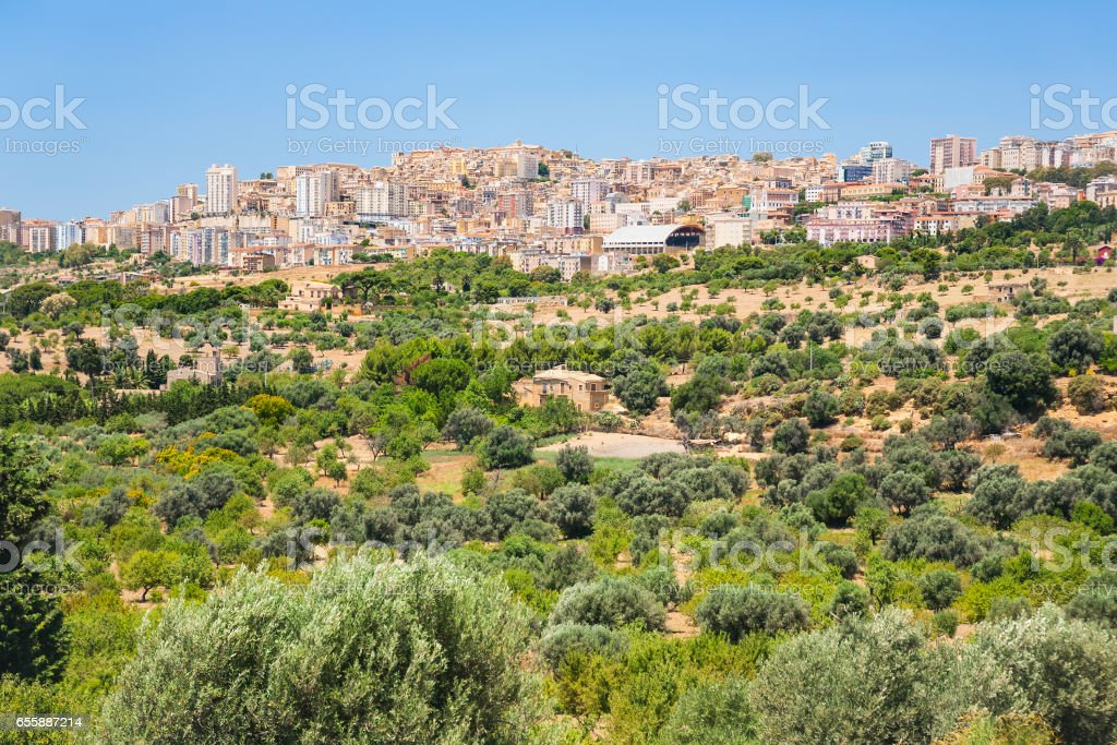 fruit gardens and view of Agrigento town - foto stock