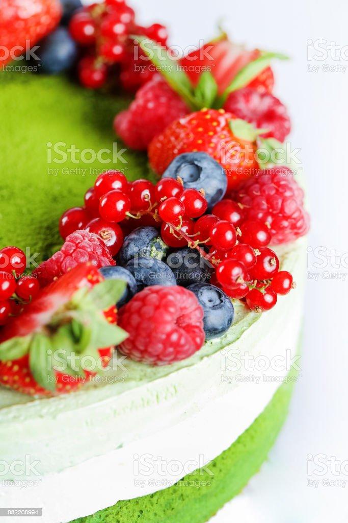 Fruit garnish cake stock photo