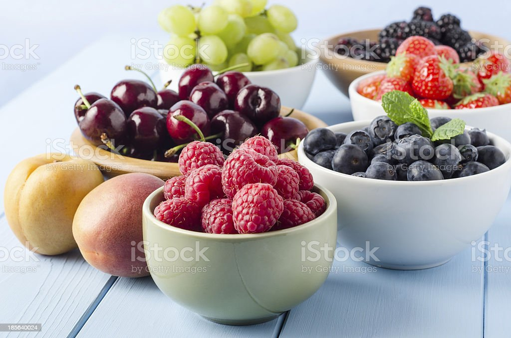 Fruit Harvest Selection in Bowls stock photo