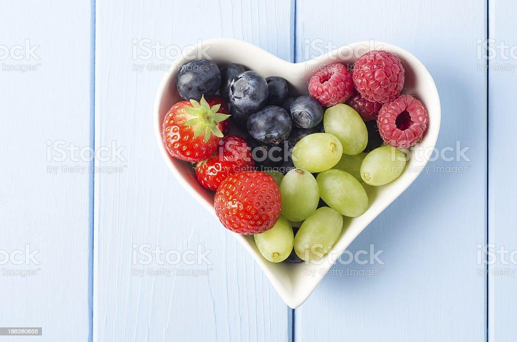 Fruit Heart Overhead stock photo