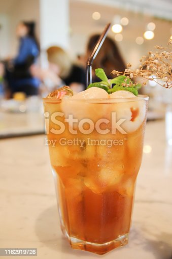 Fruit iced tea and lychee; berry mocktail.