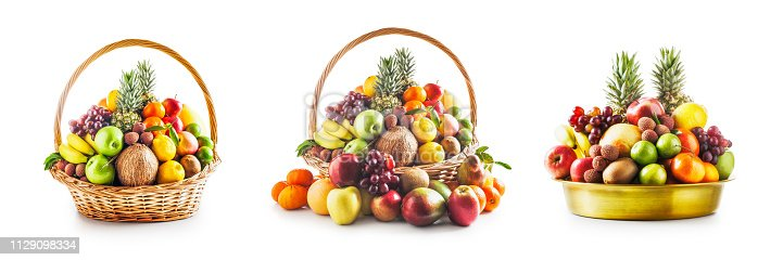 istock Fruit in basket and bowl set, winter assortment 1129098334