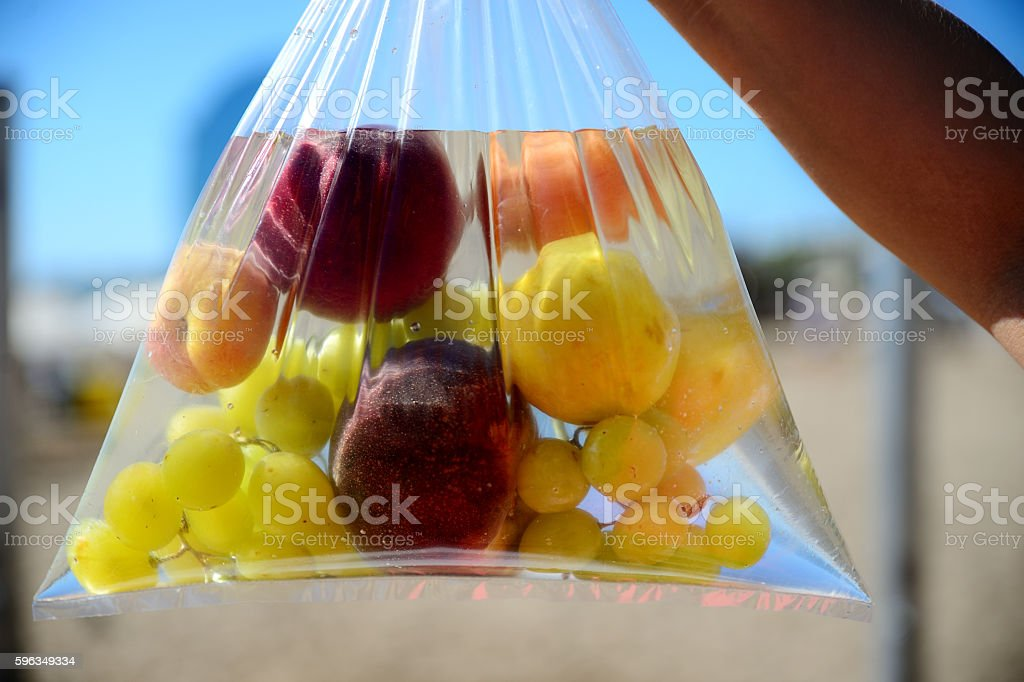 fruit in plastic bag with water royalty-free stock photo