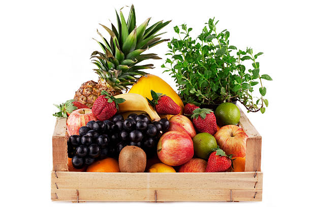fruit in wooden box. stock photo