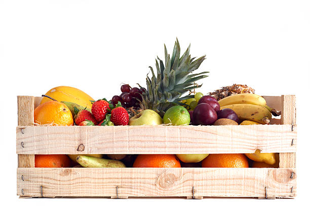 Fruit in wooden box stock photo