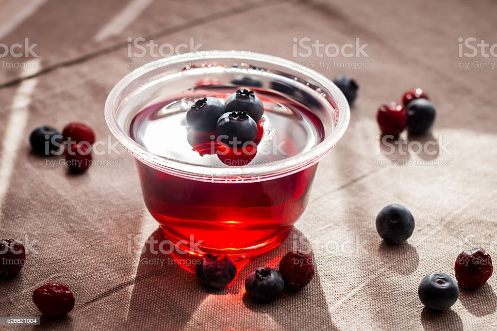 fruit  jelly with berries stock photo