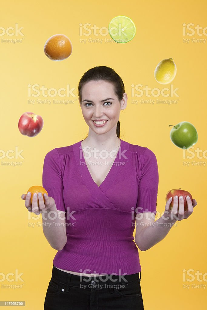 Fruit Juggling Portrait Series royalty-free stock photo
