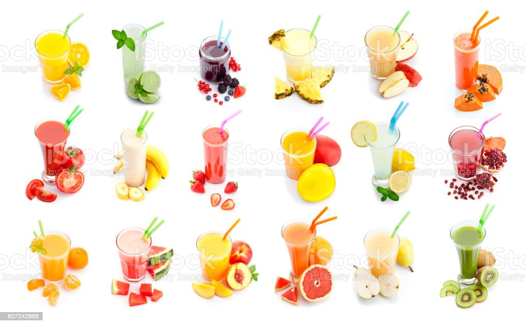 Fruit juice and smoothie glasses collection isolated on white background stock photo