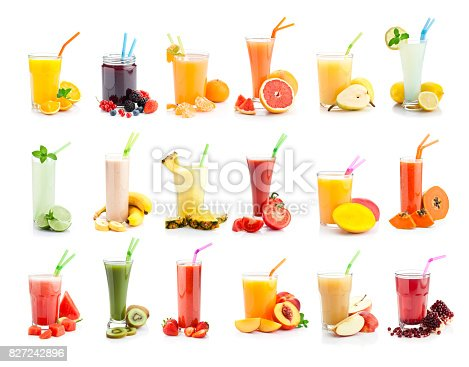 Front view of multi colored fruit juices and smoothie glasses collection shot on white background. XXL File. DSRL studio photos taken with Canon EOS 5D Mk II and Canon EF 100mm f/2.8L Macro IS USM