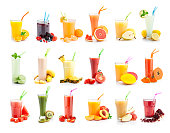 Fruit juice and smoothie glasses collection isolated on white background