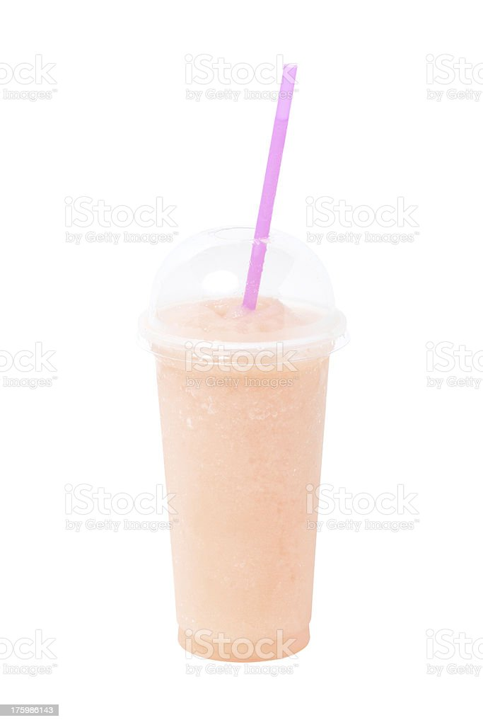 Fruit juice in plastic glass isolated on white. royalty-free stock photo