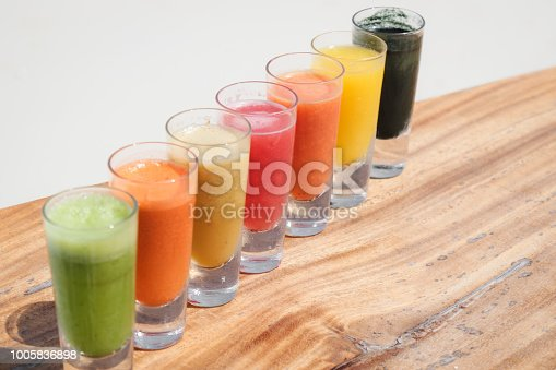 Fruit Juice shooter Selection by the sea in shot glasses