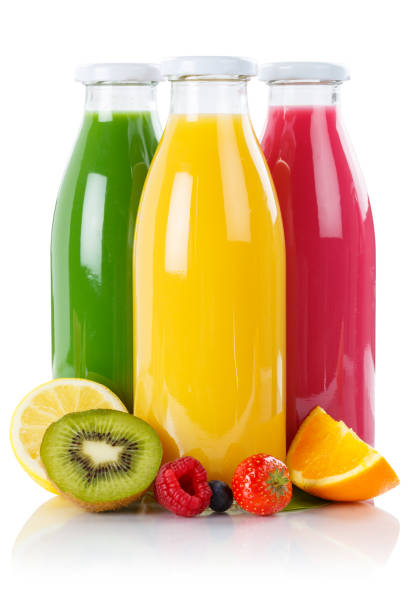 fruit juice smoothie fruits smoothies in bottle vertical isolated - fruit juice bottle isolated foto e immagini stock