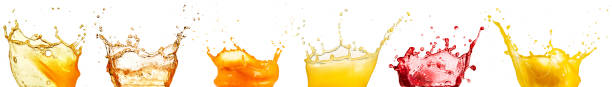 fruit juice splash collection stock photo