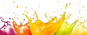 collection of fruit juice colorful splashes isolated on white background\