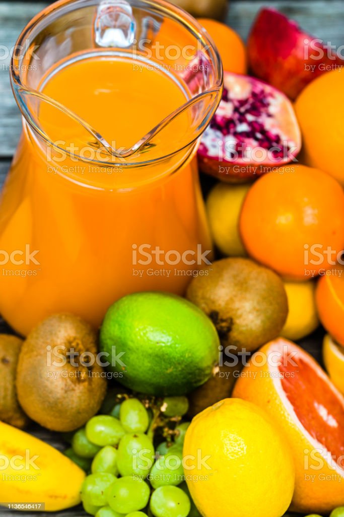 Fruit Juice With Tropical Fruits Healthy Juice With Vitamin Refreshing Drink For Summer Clean Eating And Healthy Lifestyle Concept Stock Photo Download Image Now Istock