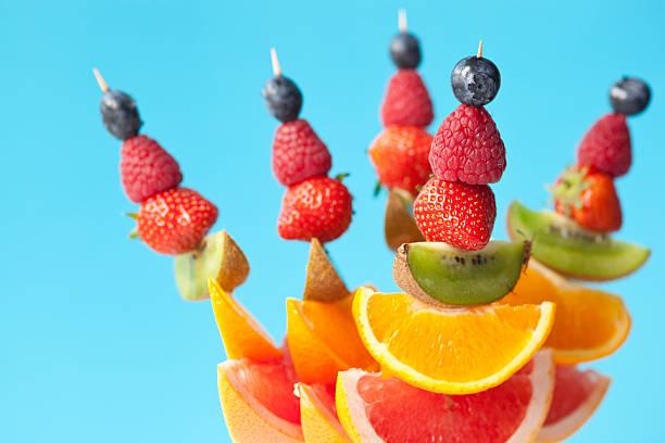 Fruit kebabs stock photo