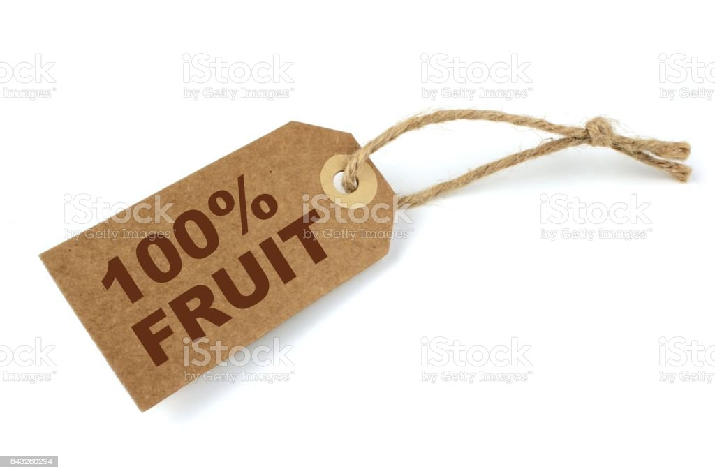 100% Fruit label with brown text stock photo